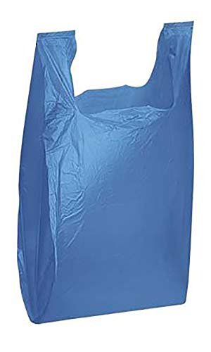 "Plastic Shopping Bags - (Blue T Shirt Bags 11 ½"" x 6'' x 21'') - Case of 1,000 by SSW Basics LLC"