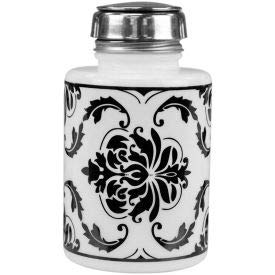 Menda 35589 Round White Glass Liquid Dispenser with Pure-Touch Pump, Black Damask Printed, 6 oz. (35589)