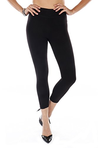 Cotton Spandex Angel Soft High Waist Yoga Leggings - Cropped Capri (Black, Large) ()