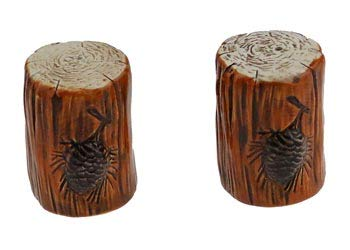 Dolomite Tree Log Stump Pine Cone Salt & Pepper Shaker Set, Camping Lodge Decor, ()