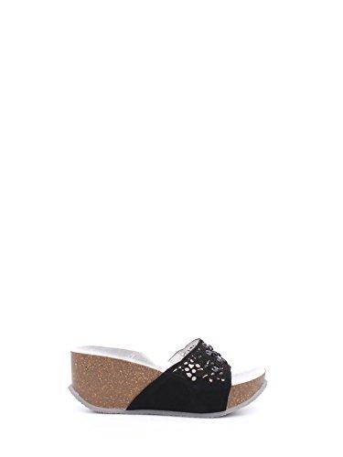 CAF NOIR HB614 zapatillas negras agujeros de cuña de cuero de la señora Nero