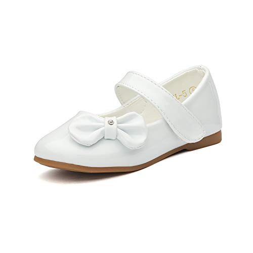 DREAM PAIRS Angel-5 Adorable Mary Jane Side Bow Buckle Strap Ballerina Flat White Pat 9 M US Toddler