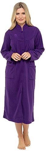 bottoni Purple in accappatoio a morbido e tasche Calda vestaglia pile con maniche lunghe 0qOOa
