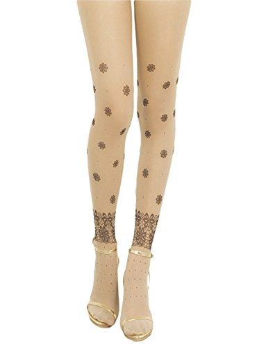 iB-iP Women's Prints seamless stylish stocking Mid Waist Sheers Tights Pantyhose, Size: M-L, Cream