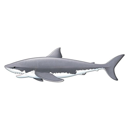 Club Pack of 12 Jointed Shark Gray and White Cardboard Cutout 5' 11'' by Party Central
