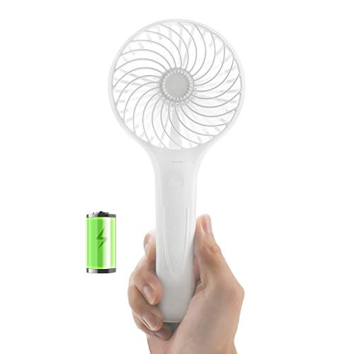 GREENIC Mini Handheld Pocket Fan, Portable Rechargeable, 2 Speed, Dual-Head Folding Personal Fan for Home Office Outdoor Travel Dry Eyelash, Pink