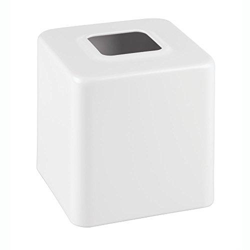 InterDesign Gia Facial Tissue Box Cover/Holder for Bathroom Vanity Countertops - White Porcelain Tissue Box