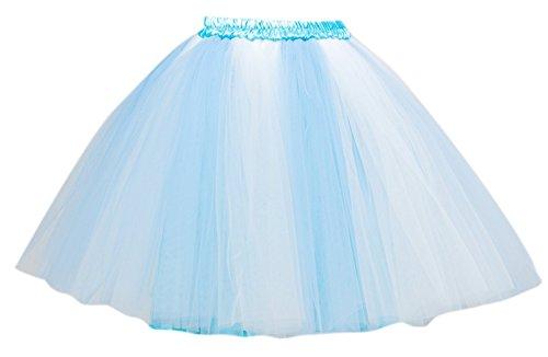PerfectDay Women's Mini Tutu Ballet Multi-layer Ruffle Frilly Petticoat Skirt Baby Blue White - White Tutu Costume Ideas