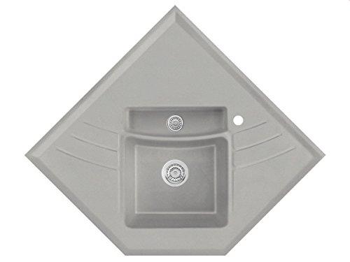 Systemceram Vega Eck Plus Titan Keramik-Spüle Handbetätigung Grau Eckspüle Küche