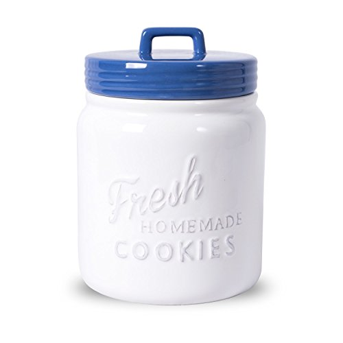 DII Vintage, Retro, Farmhouse Chic, Mason Jar Inspired Ceramic Kitchen Canister, Cookie Jar With Airtight Lid For Food Storage, Store Cookies, Crackers, Chips and More - Blueberry (Vintage Blue Mason Jar)