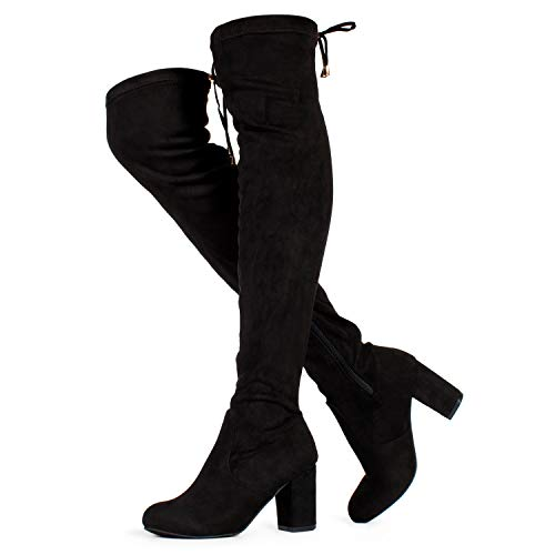 (RF ROOM OF FASHION Women's Medium Calf Over The Knee Chunky Heel Stretch Boots Black SU (9))