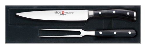Wusthof Classic Ikon 2-Piece Carving Set, Black
