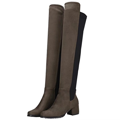 AIYOUMEI Womens Slip-On Mid Heel Round Toe Autumn Winter Stretch Over The Knee Boots Green yeJwpLZ8v