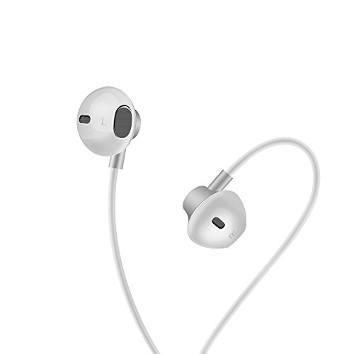 Earbuds, E&jing Earphones Ergonomic In Ear Design with Mic Line Volume Control Music Headphone Crispy Clear Treble Deep Bass (Silver)