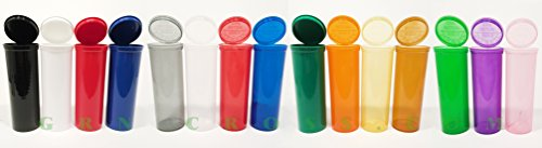 - 10 Plastic Prescription Vials with Squeeze Top Caps 60 DRAM RX Medicine Containers in Different Colors Transparent Green, Red, Blue, Pink, Clear, Black, Yellow, Orange, Amber, Violet (Purple)