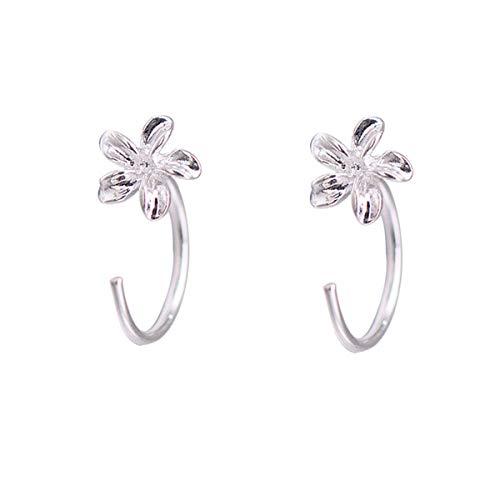 (FarryDream 925 Sterling Silver Plumeria Flowers Earrings Women Teen Girls Flowers Earrings)