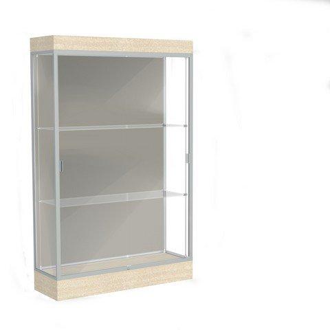Edge Series Floor Display Case Frame Color: Satin, Base Color: Chardonnay, Case Backing: Harbor ()