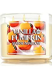 Bath & Body Works VANILLA PUMPKIN MARSHMALLOW 3 Wick Scented Candle With Plain Silver Lid 14.5 oz/411g