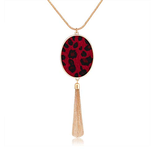 - Long Necklaces for Women Statement Leopard Snakeskin Fur Pattern Necklace Oval Leather Pendant Necklaces Jewelry (Fur-Rose red)