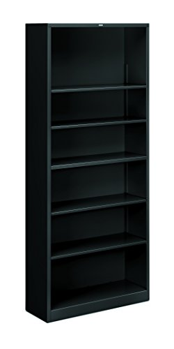 HON Brigade Metal Bookcase - Bookcase with Six Shelves, 34-1/2w by 12-5/8d by 81-1/8h, Black (HS82ABC)
