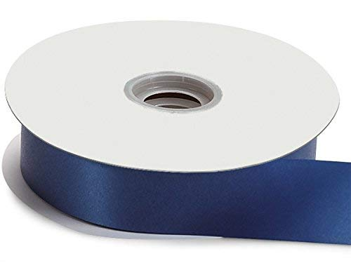 Pack Of 1, Solid Navy Blue Flora Satin Ribbon 1-7/16