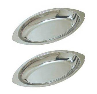 12 oz. (Ounce) Stainless Steel Oval Au Gratin Serving Dish Pan Platter - Set of 2