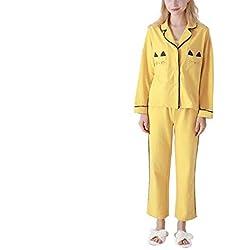 AIXUZHOU Conjunto de Pijama para Mujer Amarillo Lindo Gato Algodón Simple Otoño Invierno, Amarillo, L