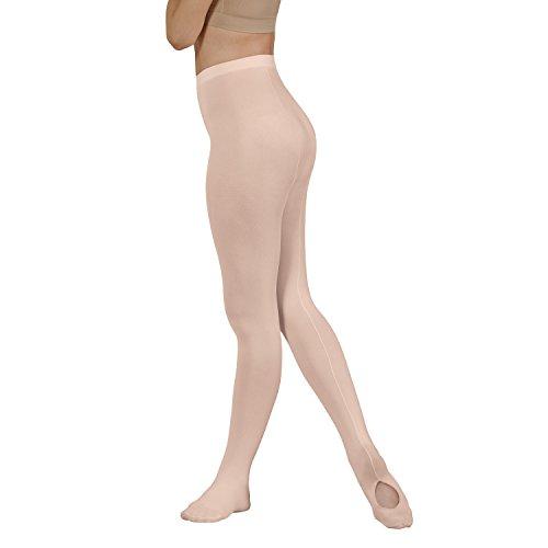 - Eurotard 219 EuroSkins Adult Mesh Convertible Black Seam Tights (Ballet Pink, Large/Extra Large)