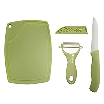 Ceramic Knife & Peeler Set - Premium Household Ceramic Peeler Kit, Super Sharp Kitchen Vegetable Fruit Knife Set, Includes 1 Fruit Knife, 1 Peeler, 1 Cutting Board