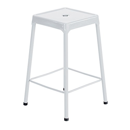 Safco Products 6604WH Steel Stool Standard Height, White