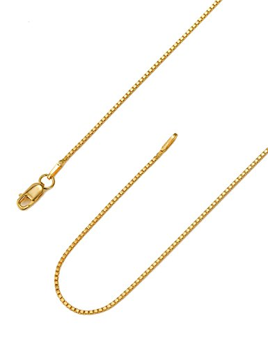 925 Sterling Silver 18K Gold Plated .8mm Box Chain Necklace Solid Nickle-Free Necklace For Women 16 Inches lobster clasp chain Valentine's Day Gifts Anniversary Gifts for Her Gifts for Wife - Free Nickle