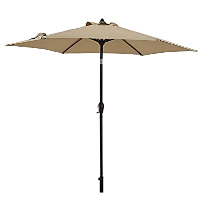 "AI-LIN 9 Ft Patio Umbrella Outdoor Table Umbrella with Crank, 6 Ribs (Beige) - Easy crank open function with push button tilt, simple crank handle style for easy opening and closing. Breathable 200g polyester fabric, keep cool and comfortable from the hot and harsh sun. With straps. Comes with a 1.5"" diameter iron pole and powder coated. - shades-parasols, patio-furniture, patio - 31Fu vjoqdL. SS400  -"