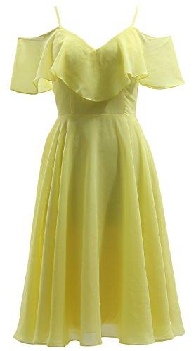 Wedding MACloth V Short Gown Party Ruffled Chiffon Canary Dress Bidesmaid Neck Formal wFp0q