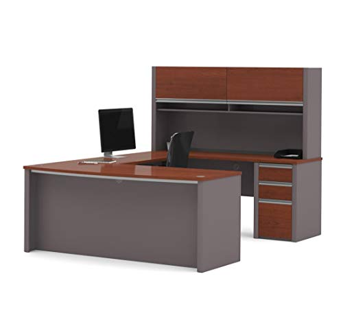 (Bestar Connexion U-Shaped Workstation with Three Drawers, Bordeaux/Slate)