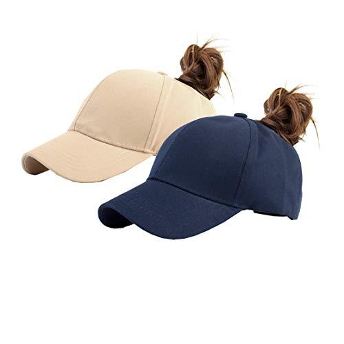 (Cotton Ponytail Hats Pony Tail Caps Baseball for Women (Navy+Khaki))