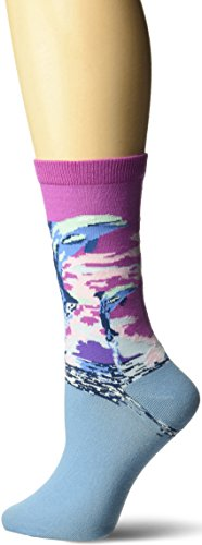 K. Bell Women's Playful Animals Novelty Casual Crew Socks, Dolphins (Purple), Shoe Size: 4-10