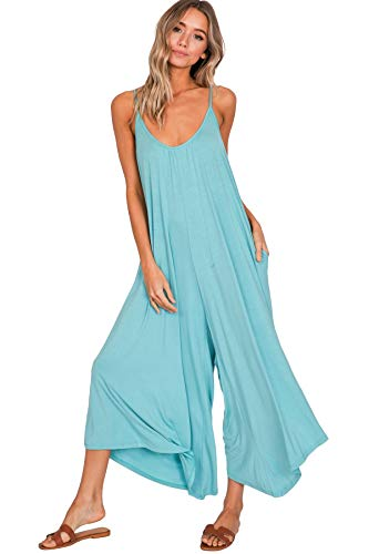 Annabelle Women's Flare Low Back Wide Leg Full Length Plus Size Jumpsuit Mint XX-Large J8030P