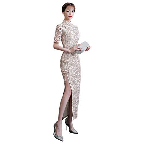 Meijunter Élégant Cheongsam Qipao Femmes De Longue À Pour Manches Beige Cocktail Courtes Dentelle En Robe rrxwvFTdq