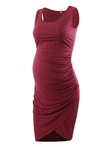(Ecavus Women's Maternity Mama Sleeveless Tulip Dress Wrap Hem Ruched Casual Fitted Sheath Dress Wine Red)