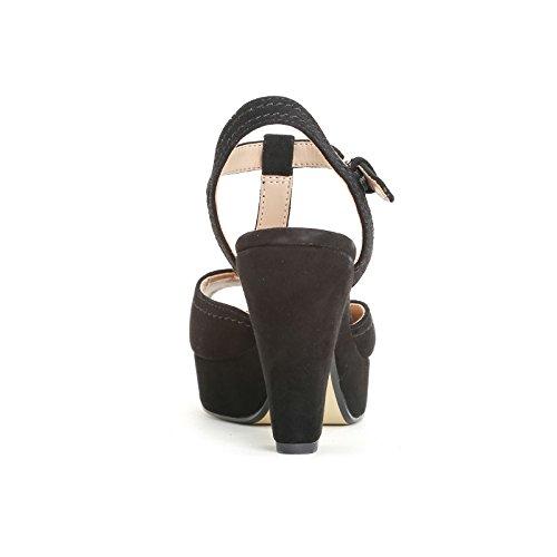 ALESYA by Scarpe&Scarpe - Sandalias altas con T-bar y plataforma, de Piel, con Tacones 9 cm Negro