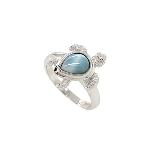 Sterling Silver 925 Natural Larimar Hawaiian Sea Turtle Ring (Size 5)