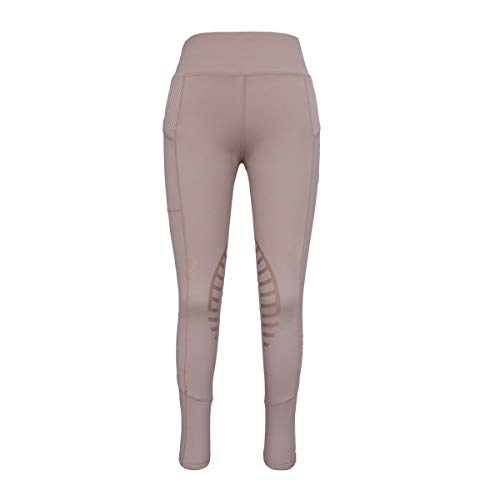 HR Farm Women's Silicone Tights Horse Riding Gel Grip Pull On Leggings with Pocket (Beige, M) (Summer Riding Tights)
