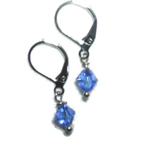 SAPPHIRE BLUE EARRINGS Swarovski Elements Crystal Silver Plt Leverbacks Drop Dangle