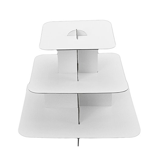 Ifavor123 White Square 3-Tier Cardboard Cupcake Stand Dessert Tower Treat Stacked Pastry Serving Platter Food Display (Pkg of 1) -