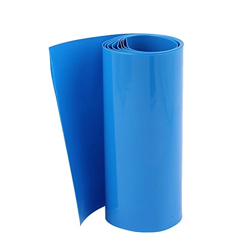 Uxcell a16012500ux0217 1M 103mm Flat 65mm PVC Heat Shrink Tubing Blue for 18650 Battery