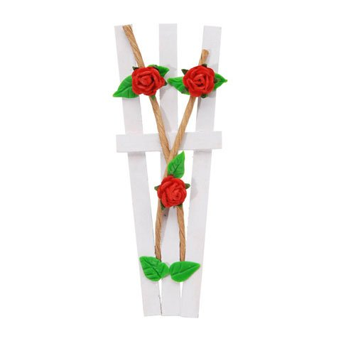 Bulk Buy: Darice DIY Crafts Timeless Miniatures Red Rose Garden Trellis 4 inches (3-Pack) 2318-05