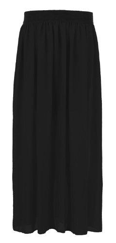 Fast Chiffon elastico a lungo donna Fashion maxi-Rock(36/38=SM, Nero)