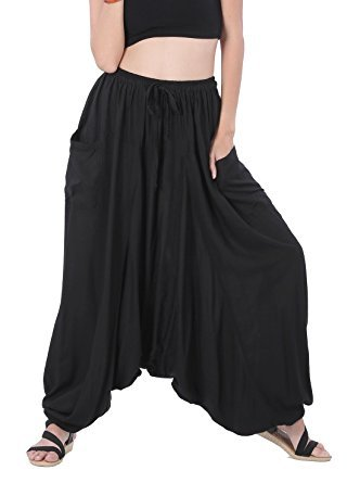 2d1aa422b711b Whitewhale Men s and Women s Cotton Summer Loose Baggy Hippie Boho Gypsy Harem  Pants (Black