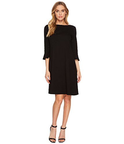 3/4 sleeve black knit dress - 5