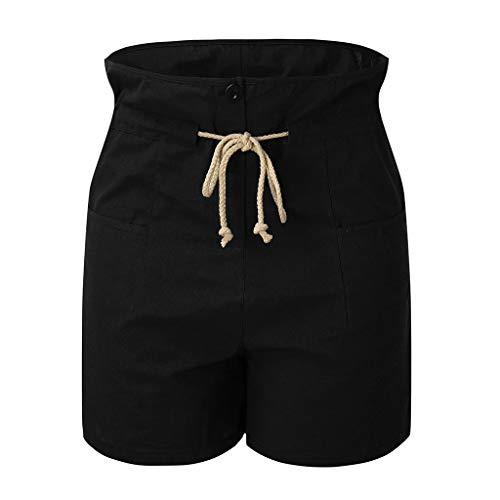 WEISUN Women Casual Shorts Summer Cotton Linen Stetchy Short Pants Summer Jersey Walking Drawstring Shorts with Pockets Black ()